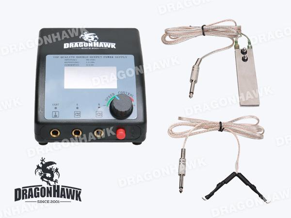 Tattoo LCD Digital Power Supply Foot Switch Clip Cord P027-1+WE002+WY002