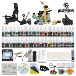 Wholesale Tattoo Gun Tips - Beginner Cheap Complete Tattoo Kit 2 Guns Machines 54 Colors Tattoo Ink Sets 20 pcs Disposable Needles Power Supply Tips Grips D100-2DH