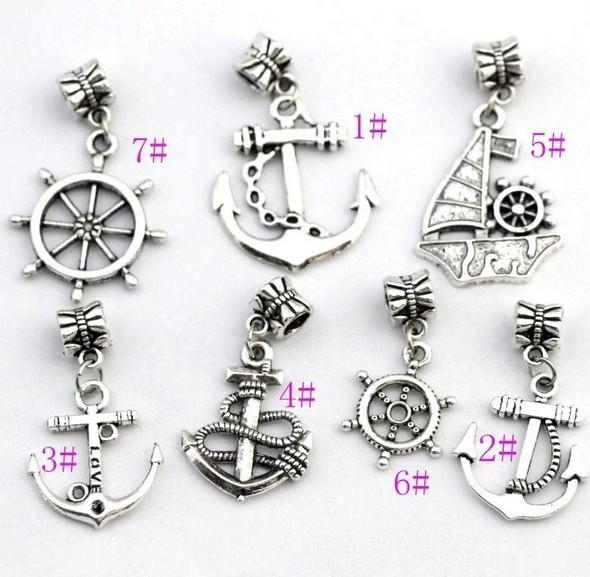 100Pcs/lot 7STYLES Antiqued Silver-finished Anchor Sailboat Charm Beads Fit European Bracelet Jewelry DIY B005 B003 B001 B002