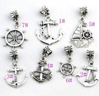 anker perlen charme großhandel-100pcs / lot 7styles Antiqued Silber-fertige Anker-Segelboot-Charme bördelt passende europäische Armband-Schmucksachen DIY B005 B003 B001 B002
