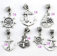 Wholesale Anchor Plate - 100Pcs lot 7STYLES Antiqued Silver-finished Anchor Sailboat Charm Beads Fit European Bracelet Jewelry DIY B005 B003 B001 B002