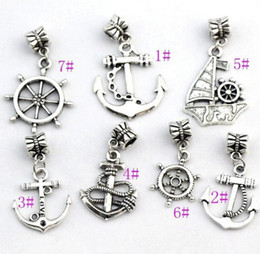 Wholesale Anchor Jewelry Charms - 100Pcs lot 7STYLES Antiqued Silver-finished Anchor Sailboat Charm Beads Fit European Bracelet Jewelry DIY B005 B003 B001 B002