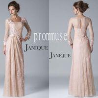 Wholesale Elegant Laces - 2017 Hot Sale JANIQUE Elegant Pink Long Sleeve Sheath Square Floor Length Applique Lace Mother of the Bride Dresses EM00483