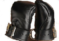 Wholesale Hand Cuffs Bondage - Black Leather Deluxe Padded Fist Mitts hand cuffs bondage with 2 PCS Brass sex toys SM016
