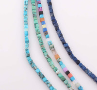 Wholesale 4mm Square Cube Natural Turquoise Beads Turquoise Stone Beads Jewelry Findings ZBE184