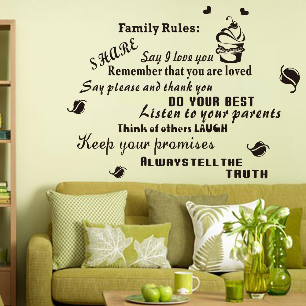 Family rules black letters wall decals for home decoration vinyl see larger image amipublicfo Choice Image