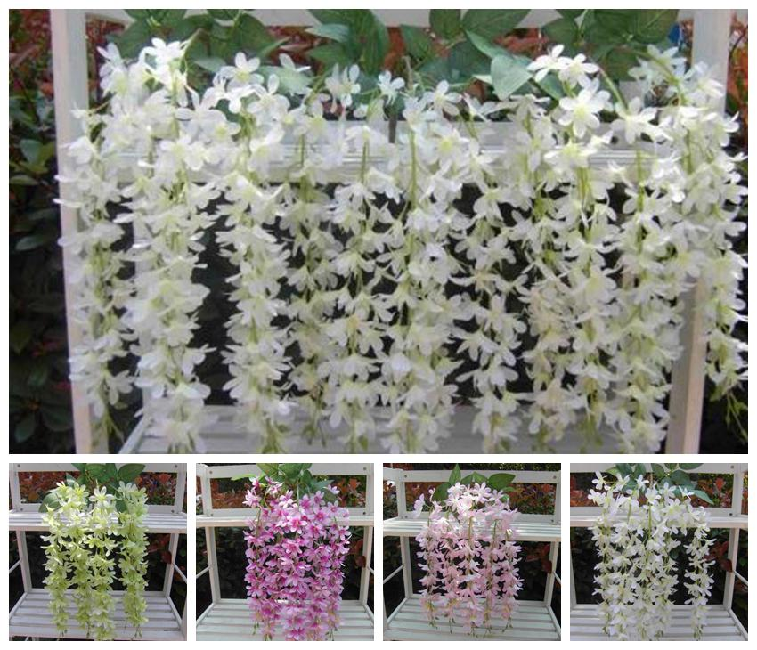 60cm length silk wisteria flower rattan 5 stems fake wall mounted 60cm length silk wisteria flower rattan 5 stems fake wall mounted vines for wedding party home artificial decorative flowers wisteria flower rattan mightylinksfo