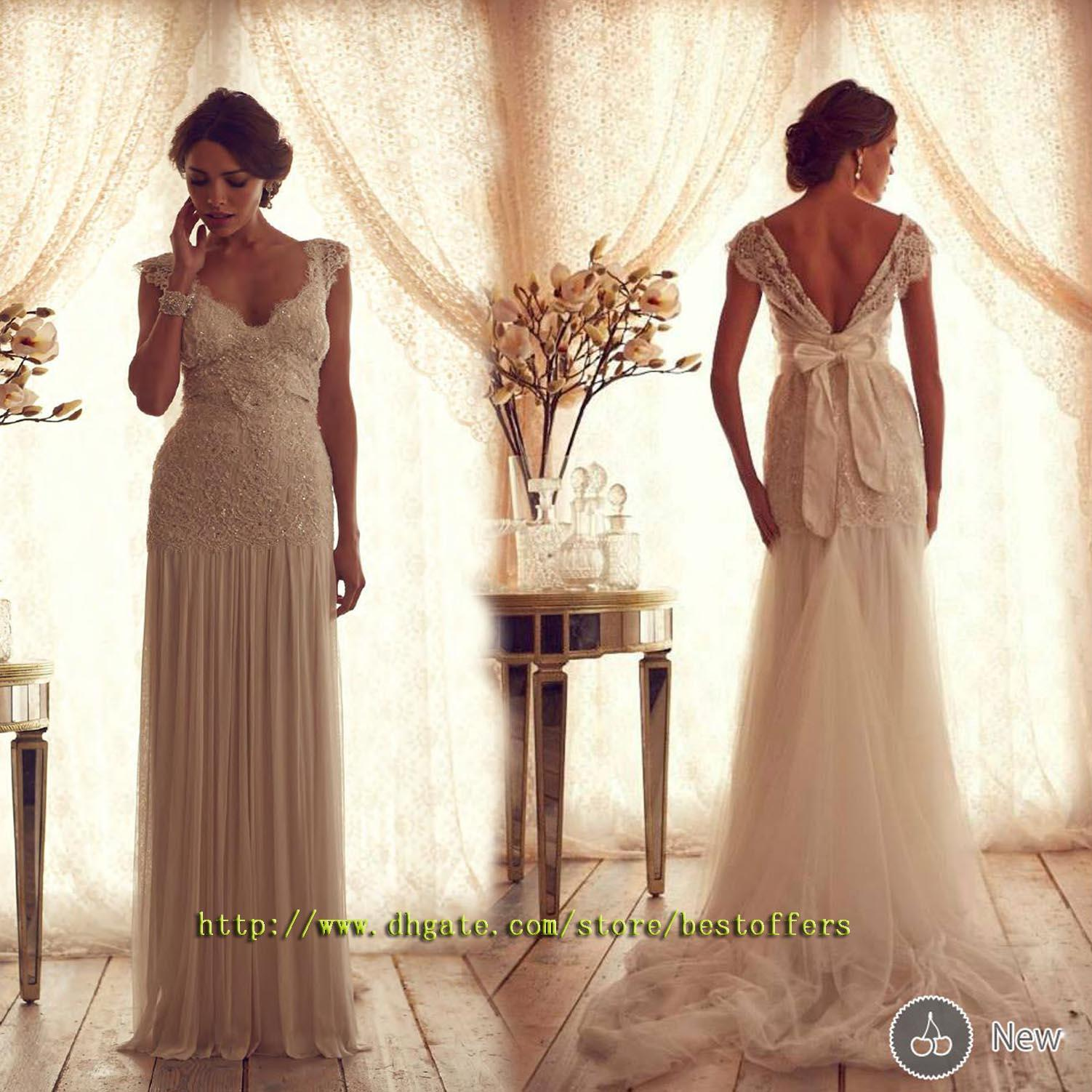 Drop Sleeve Wedding Gowns With: Cap Sleeves Wedding Dress With Drop Waist Lace Fitted On