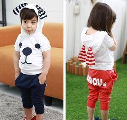 Wholesale Girl Puppy Clothes - Kids Clothing Cute Baby Set Boys Girls Sets Big Ears Puppy Dog Cotton Top T Shirt + Shorts Pants 2 pcs Set Children's Outfits Boy Girl C1384