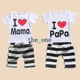Wholesale baby love pants - free shipping baby clothes i love papa mama baby set baby boys girls summer 2pcs baby clothes short sleeve t-shirt pants kids pajamas set