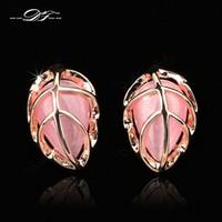 joyas de piedras preciosas de imitación al por mayor-Nueva forma de hoja Opal Stone Vintage Party Stud Pendientes 18 K chapado en oro rosa joyería de boda de piedras preciosas de imitación para las mujeres