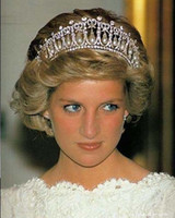 Wholesale Abs Hair - Princess Diana Same ABS Pearl Crown Crystal Tiara Bridal Jewelry XN0308