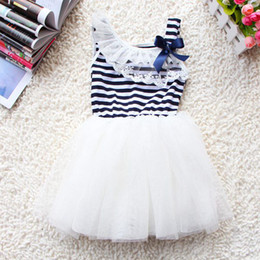 Wholesale Strip Skirt - 12PC Fedex DHL EMS Ship new summer girls tutu dresses girls sleeveless lace dress girls white green pink strip bow tutu skirts dress 2-6T
