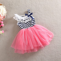 Wholesale Stripe Bowknot Dress - 2015 Summer baby girls tutu lace stripe dresses kids girl white blue pink princess bowknot sleeveless dress