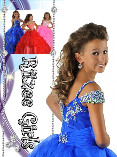 Pageant Klänningar Bollkorgar Royal Blue Organza Beading Crystal Zipper Billiga Flower Girl Gowns Kids Size 12
