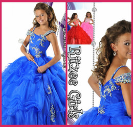 Wholesale Kids Pageant Dresses Size 12 - Pageant Dresses Ball Gowns Royal Blue Organza Beading Crystal Zipper Cheap Flower Girl Gowns Kids Size 12