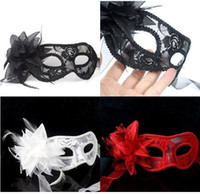 Wholesale Plain Black Masquerade Masks - Queen Lace Mask Harf Face Plain Flower Yarn Red Black White Masquerade Women Ball Party masks Sexy Lady Gazue Fether Floral 20PCS D2316