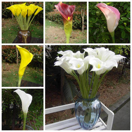 maroon flowers 2019 - 12pcs Calla lily Pink White Maroon Yellow Real Touch Calla Lilies Callas Flower Artificial Aimulation Decorative Flowers