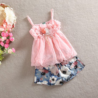 Wholesale Girls Rosette Shorts - 2016 Baby girls 2pcs sets strap singlet chiffon lace flower tops+rosette floral shorts in pink blue kids set