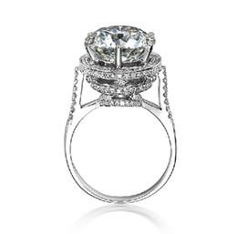 Anel de noivado de diamante .5 ct on-line-Nobre 5 Ct Luxo SONA Sintético Anel De Noivado Jóias 925 de Prata 18 K Branco Banhado A Ouro Anel De Casamento Para As Mulheres