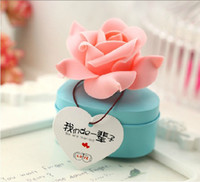 Wholesale Tinplate Wedding Candy Boxes - Heart Shaped Tinplate Candy Box With Rose Flower Fashion Gift Boxes For Romantic Wedding Favor Free Shipping