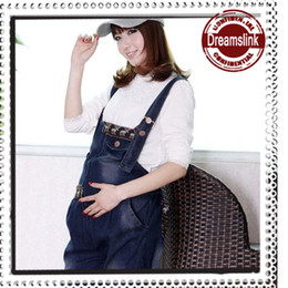 Wholesale Suspenders Pregnant - 2014 New Mama maternity slacks casual suspender pants pregnant women leisure trousers Denim trousers Jeans 1pc