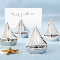 Wholesale Sail Boat Place Cards - NEW Shining Sails boat Silver Place Card Holders cheap table decoration favors