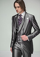 Custom Made New Style One Button Groom Tuxedos Grey Best man...