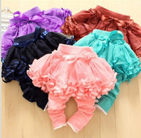 Wholesale Red Lace Tights Kids - Girls Tutu Skirt Leggings Pant Summer Girls Lace Tights Skinny Pants Bowknot Princess Leggings Kids Long Culottes LG1