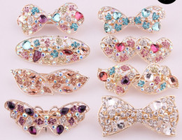 Wholesale Hair Bow Order - Fashion Noble Women's Crystal Rhinestones Hairpin Hair Clip Butterfly Bow Heart Barrettes High Quality Eight Colors Mix Order 10pcs lot
