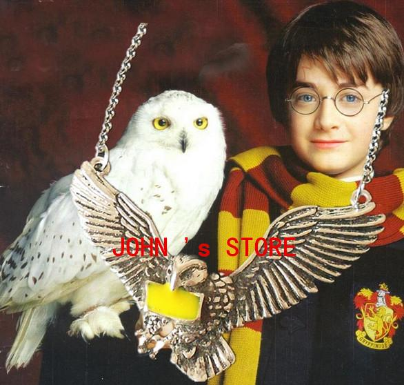 Freeshipping mucho 20PCS Harry Potter Flying Hedwig colgante collar JJFF09
