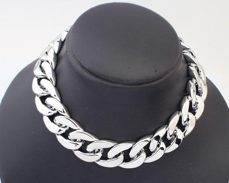 2014 moda 18 K Gold Silver plateó la cadena del regalo de las mujeres Chunky collares colgantes para mujeres hombres joyería 18 K dorado collar grueso