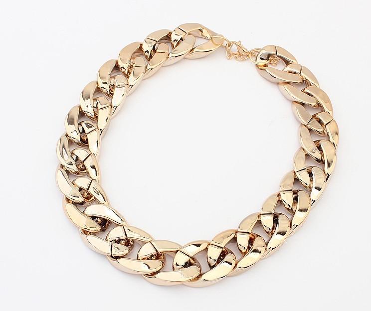 2014ファッション18Kゴールドシルバーメッキ女性ギフトチェーン分厚いネックレスペンダント女性男性ジュエリー18Kゴールドメッキ粗いネックレス