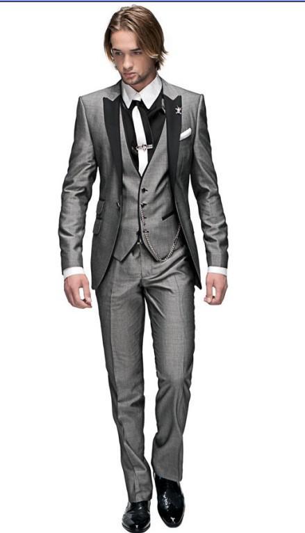 新しいスタイルスリムフィットグルーミングタキシードライトグレーベストマンピークブラックラペルグルームマンメンズウェディングスーツの花婿(ジャケット+パンツ+ネクタイ+ベスト)J296