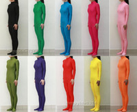 Wholesale green spandex unitard - Lycra Spandex Zentai costume party Bodysuit Catsuit Unitard No Hood & Hands S-XXL