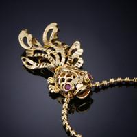 золотые рыбные украшения оптовых-2018 горячий продавать Pearl Nacklace 18K позолоченный кулон ожерелье рыба форма ювелирные изделия из нержавеющей цепи W9