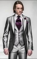 Wholesale Silver Tuxedos - Custom Made Slim Fit Groom Tuxedos Silver Grey Best man Peak Lapel Groomsman Men Wedding Suits Bridegroom (Jacket+Pants+Tie+Vest) J312