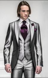 Wholesale Silver Bridegroom Suits - Custom Made Slim Fit Groom Tuxedos Silver Grey Best man Peak Lapel Groomsman Men Wedding Suits Bridegroom (Jacket+Pants+Tie+Vest) J312