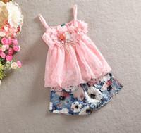 Wholesale Chiffon Girl S Pants - Wholesale - summer kid clothes girl floral suit chiffon sling top +short pant 2 pcs 4 s l