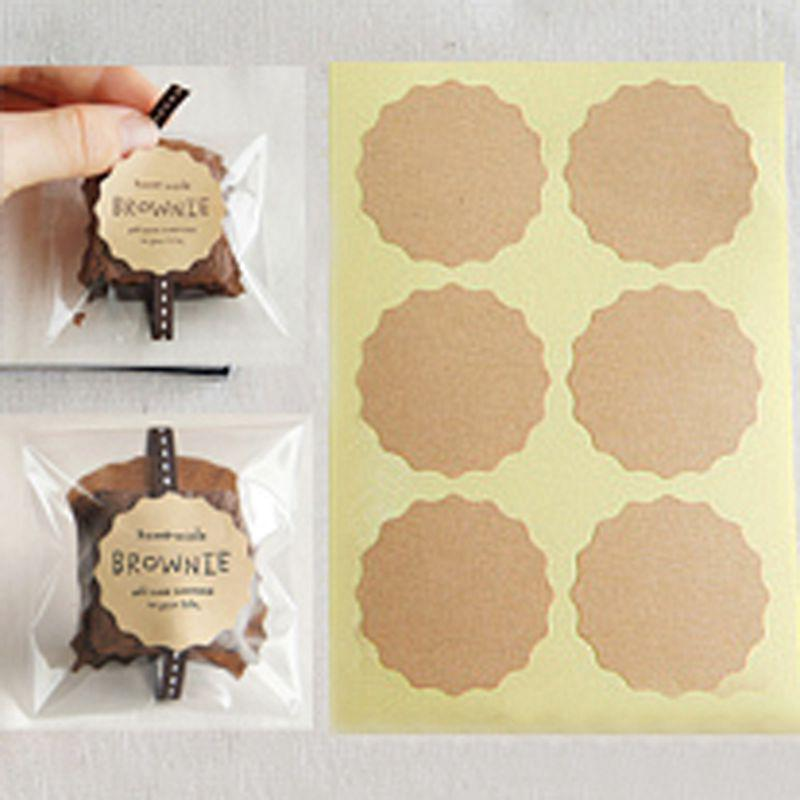 kraft brown scalloped circle stickers labels seal label sticker
