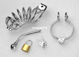 Wholesale Rings Padlock - Free Shipping Stainless Steel Penis Ring Penis Cage with ring & padlock Cock ring Cage Metal Sex Toys for Men
