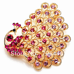 Wholesale Large Peacock Plate - 2.5 Inch Gold Plated Hot Pink Rhinestone Crystal Diamante Large Peacock Party Brooch prom Jewelry Pin