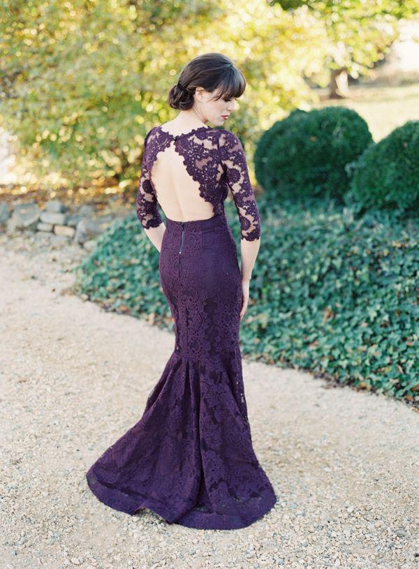2015 lila spets lång brudtärna klänning ren halv ärm öppna tillbaka eleganta sjöjungfrun formella klänningar kvällsklänningar skräddarsydda