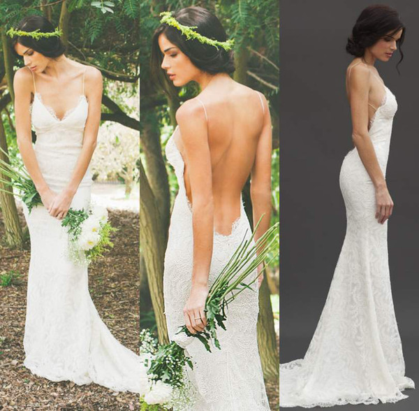 best selling Katie May 2019 Sexy Backless Summer Holiday Boho Wedding Dresses Lace Spaghetti Sheath Garden Beach Bohemian Sheer Bridal Wedding Gowns