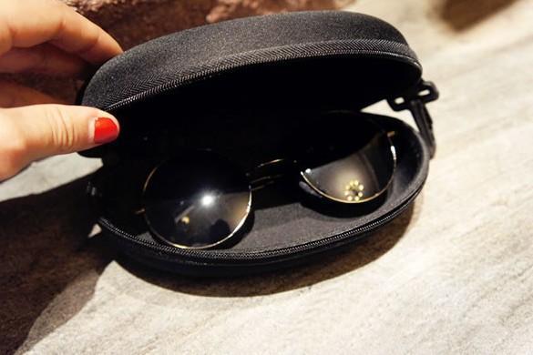 Dragkedja glasögon svart bärbar söt stil hård blixtlås packe för glasögon öga glasögon solglasögon väska glasögon tillbehör gratis frakt