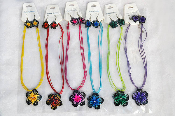FREE 12sets/lot Handmade Polymer Clay FIMO flower Silk chain necklace+earrings New Sexy Leopard Fashion Women Jewelry nx0011