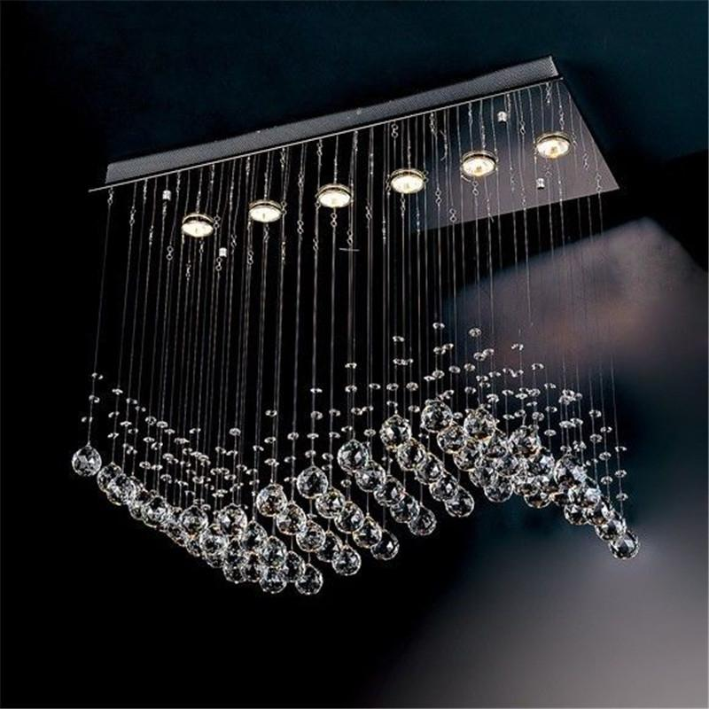 Contemporary 6 Light Crystal Wave Chandelier Modern Style Curtain ...