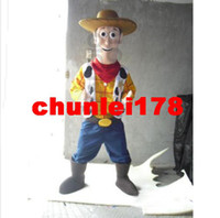Wholesale Cartoon Man Costume Party - free shipping Woody Mascot Costume Happy Cowboy Halloween Party Adult Size Cartoon Fancy Dress