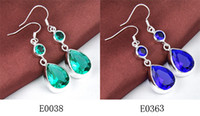 Wholesale Wonderful Earrings - Wonderful earrings!New Season Hip Hop Stylish shiny blue topaz and green topaz earrings 925 silver 2pcs lot