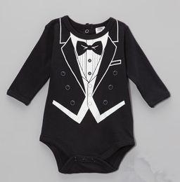 Wholesale Doomagic Long Sleeve - Wholesale - 2014 doomagic black Groomsmen Rompers Body Suit Baby One-Piece Rompers Long Sleeve Romper Onesies -DZY776H